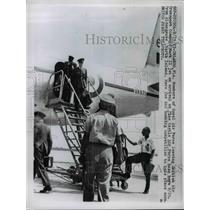 1957 Press Photo Royal Air Forces Pilots Leaving Mark II Jet in Orlando, Florida
