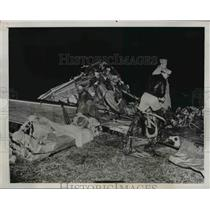 1946 Press Photo Army C-45 Transport Plane Cash near Freehold, NJ - nem47717