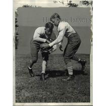 1935 Press Photo Steve Sabath and Johnny Krukowski with East High football.
