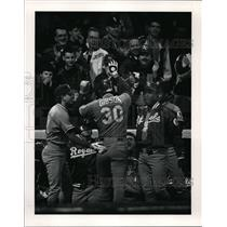 Press Photo Kirk Gibson of Royals Congratulated by Teammates on Two Run Homer