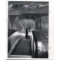1974 Press Photo Glass covered moving stairway at Charles de Gaulle Airport