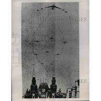 1954 Press Photo Russian Bombers Flying over Red Square, Moscow on May Day