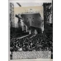 1950 Press Photo Ark Royal Slides Down Birkenhead Ways - RRX70403