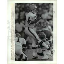 Press Photo Kansas City Mo- Browns kicker Matt Bahr watches winning field goal.