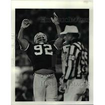 1990 Press Photo Michael Dean Perry is happy after the Bengals are stopped.