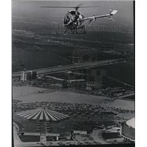 1970 Press Photo Police Helicopter Flies Above Astrodomain During Traffic Patrol