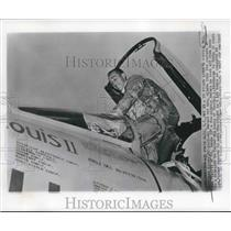 1957 Press Photo Following Lindy's route Major Robinson Risner, flying to Paris.