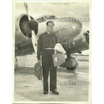 1938 Press Photo Capt Alex Papana to Test Flight of 2400 Miles to Check Plane