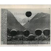 1965 Press Photo Balloons Start Over The Alps Competition at Oberstdorf, Germany