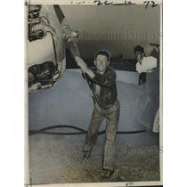 1963 Press Photo Douglas Corrigan of New Orleans Spins Propeller - nox14994