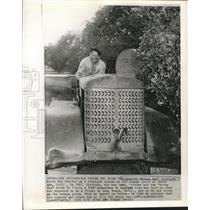 1957 Press Photo Aviator Douglas Corrigan on Tractor in California Orange Grove
