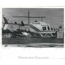 1986 Press Photo Landing at Heliport in Houston, Texas. - hcx04778