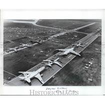 1986 Press Photo Planes Lined Up On Runway For The Dayton Airshow, - hcx05095