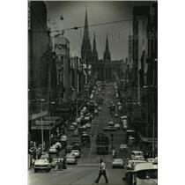 1966 Press Photo City street and trolly in Melbourne, Australia - hcx10351