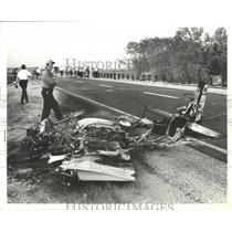 1978 Press Photo People Survey Scene of Plane Crash on Road in Alabama