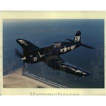 1999 Press Photo Corsair War plane at Lone Star Flight Museum - hcx09573