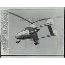 1968 Press Photo Autogyro on Display Flight, Newport Beach, California