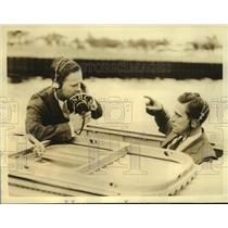 Press Photo Burke Miller & Harry See of NBC testing the Radio of Clipper Flight