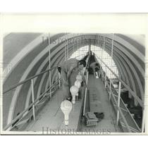 1961 Press Photo Ralph Cox & Raymond Sylvia change airport lights. - nob02674