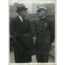 1933 Press Photo Lt Commander TGW Settle with Major Chester Fordney - nem52573