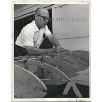 1969 Press Photo By Christmas 1967, Sims was fitting spacers in ribs of the wing