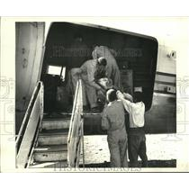 1970 Press Photo Cargo, including a ram loaded on an airplane - nob03983