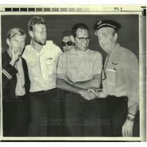 1970 Press Photo Ambassador David Popper greets hijacked crew members in Cyprus