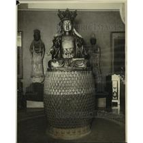 1926 Press Photo Bronze Buddha sold at auction contains valuable manuscripts