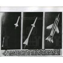 1957 Press Photo Film clips of a rocket being launched from a rocket plane