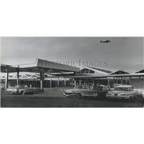1962 Press Photo Blue/Orange Façade at Birmingham Airport New Terminal, Alabama