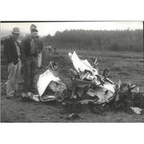 1957 Press Photo Motor Ripped From Small Aircraft in Crash, Falkville, Alabama