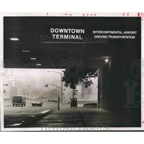 1969 Press Photo Sign on Albert Thomas Airline Terminal in Downtown Houston.