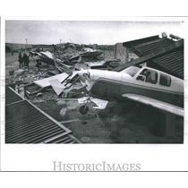 1964 Press Photo Shattered Hanger Fell on Planes During Windstorm at Timmerman