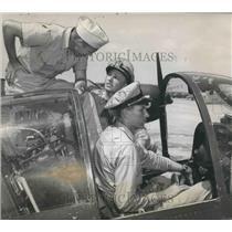 1951 Press Photo Navy Pilots at Naval Air Station in Boca Chica, Florida