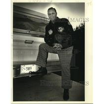 1980 Press Photo Former pilot Herman Hager poses behind his Ford pickup truck