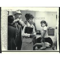 1969 Press Photo Allen Funt with daughter, ties his tie at Miami International