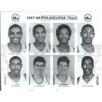 1989 Press Photo 1987-88 Philadelphia 76ers lineup/roas - RRQ41719
