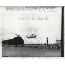 1956 Press Photo Helicopters taking off with a platoon of soldiers aboard