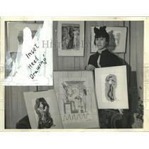 1939 Press Photo Artist Angna Enters at her New York City art exhibit