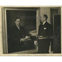 1935 Press Photo Senator Huey P. Long portrait painted by Boris B. Gordon