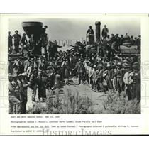 1869 Press Photo East and West Border Railroad Gangs Meet and Shake Hands