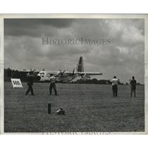 1960 Press Photo C-130 Hercules Transport  during demonstration at Dobbins Base