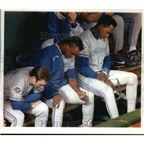 1993 Press Photo Toronto baseball players heads down, loss at World Series game