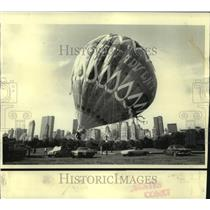1974 Press Photo A large hot air balloon is launched in New York's Central Park