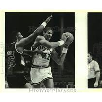 1986 Press Photo San Antonio Spurs & Portland Trail Blazers play NBA basketball