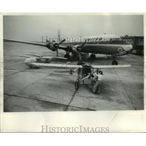 1965 Press Photo Joyce Klas Tries to Start Bleriot Monoplane at Mitchell Field
