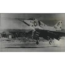 1964 Press Photo Marine Sky Hawk jet fighter takes off from Almeria Airfield