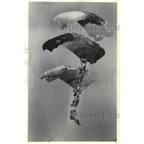 1981 Press Photo The Falling Angels parachute down during Oshkosh convention