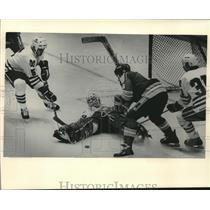 1984 Press Photo Chicago hockey goalie Jim Ralph stops a Blues shot at the Arena