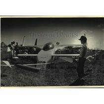 """1986 Press Photo The unusual """"Cozy"""" at the Experimental Aircraft Association"""